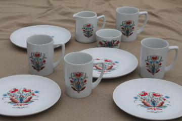 vintage Berggren china plates & mugs set for 4, red & blue rosemaled flower
