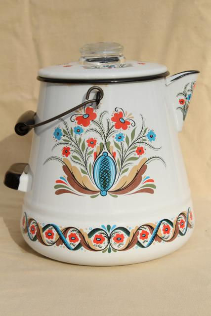 vintage Berggren enamelware one gallon coffee pot percolator, rosemaled design