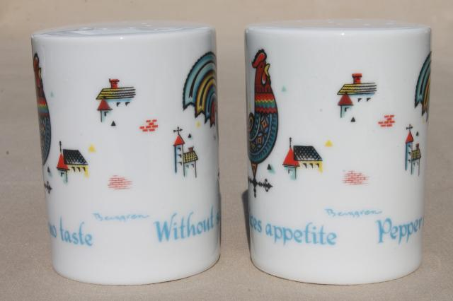 vintage Berggren rosemaling folk art china Swedish morning rooster S&P shakers range set