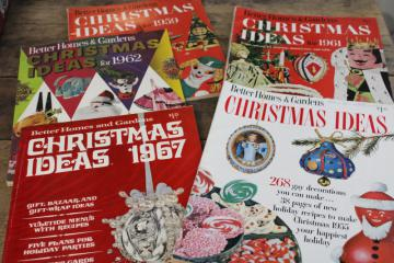 vintage Better Homes & Gardens Christmas Ideas magazines, 50s 60s retro decor, crafts
