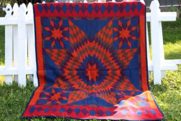 vintage Biederlack blanket West Germany Indian camp blanket colors quilt star
