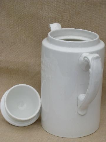 vintage Blanke's Drip Coffee Pot, old antique white ironstone china