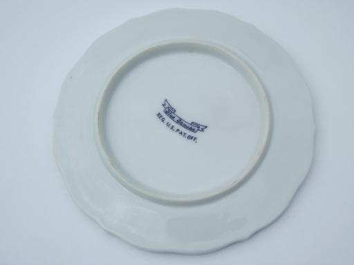 & vintage Blue Danube china tea trivet old blue \u0026 white onion pattern