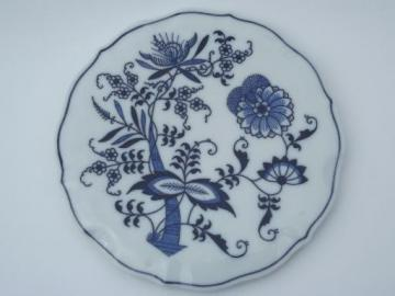 vintage Blue Danube china tea trivet, old blue & white onion pattern