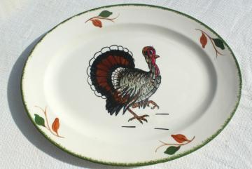 vintage Blue Ridge Southern Potteries hand painted china Thanksgiving turkey platter