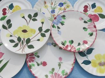 vintage Blue Ridge & Stetson pottery, lot hand-painted plates
