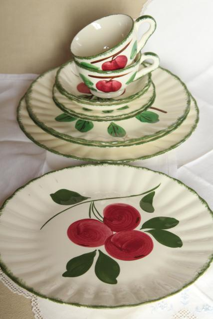 vintage Blue Ridge pottery hand painted china dishes, red apple crabapple pattern
