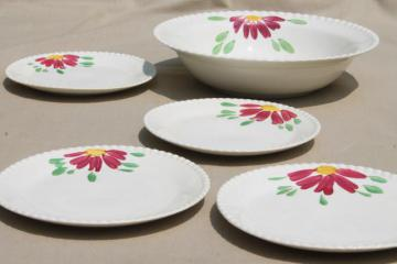 vintage Blue Ridge pottery pie crust edge salad bowl & plates w/ hand-painted red flower