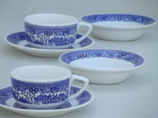 vintage Blue Willow china cups & saucers, bowls