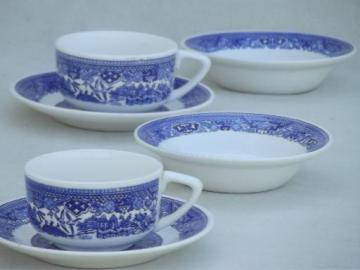 vintage Blue Willow china cups & saucers, bowls - breakfast set for 2