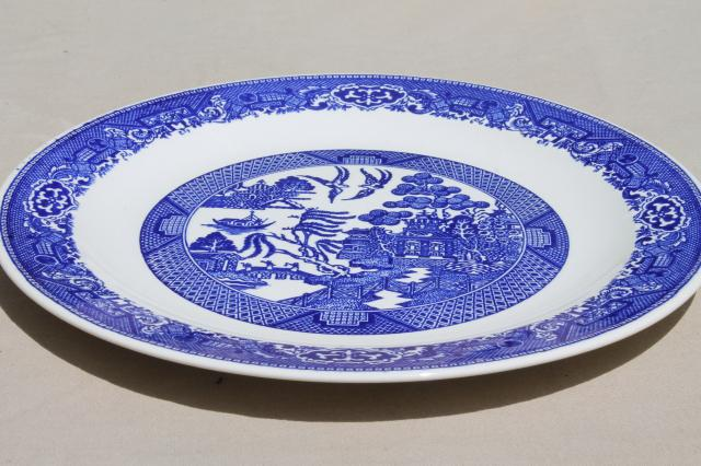 vintage Blue Willow china large round cake platter or chop plate \u0026 serving bowls & Blue Willow china large round cake platter or chop plate \u0026 serving ...