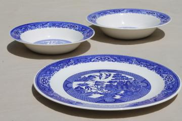 vintage Blue Willow china, large round cake platter or chop plate & serving bowls