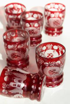 vintage Bohemian glass tumblers, ruby cut to clear crystal set of 6 glasses