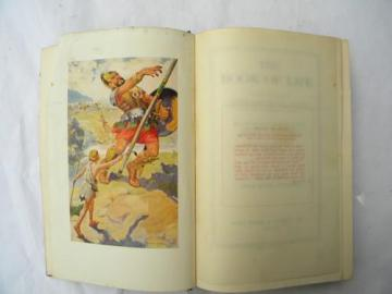 vintage Book of Life, bible kings w/David and Goliath art plate 1930