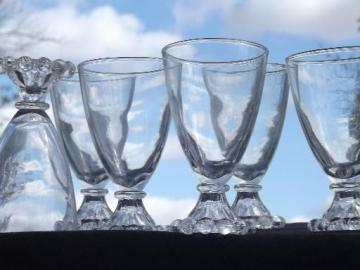 vintage Boopie candlewick beads pattern glasses, set 6 footed tumblers