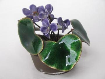 vintage Bovano enamel on copper sculpture, bunch of violets