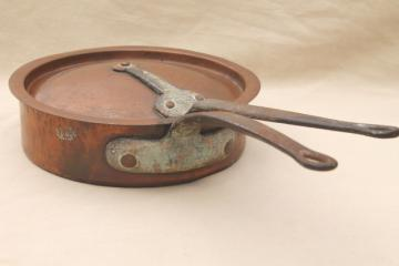 vintage Bramhall Deane large heavy copper french saute pan w/ lid, forged iron handles