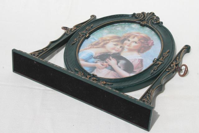 vintage British patent stand & frame w/ Victorian print, young girls w/ pet rabbit