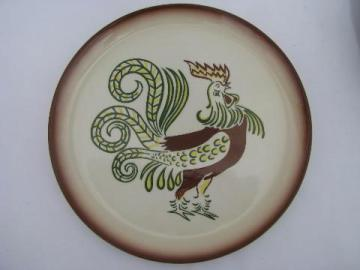 vintage Brock of California hand-painted pottery plate, Chanticleer rooster