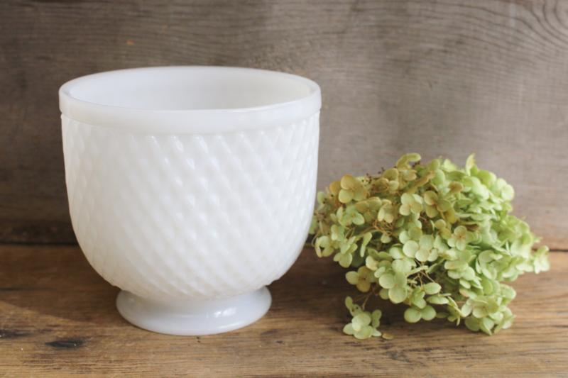 vintage Brody - Cleveland Ohio milk glass planter pot or vase w/ footed shape