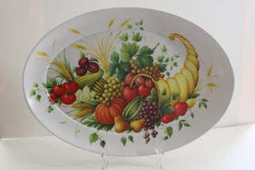 vintage Brookpark melmac Thanksgiving turkey platter or tray, horn of plenty cornucopia