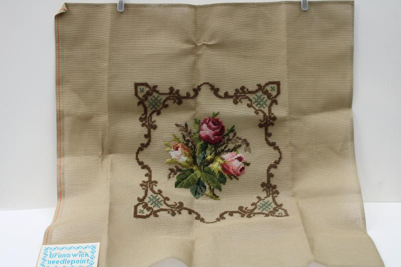 vintage Brunswick needlepoint canvas, Berlin work tapestry flowers pre-worked in Madeira