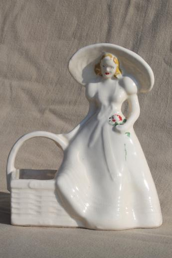 vintage Brush (McCoy) pottery planter w/ lady figure, southern belle in a picture hat