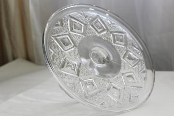 vintage Bryce Grand diamond pressed pattern glass cake stand pedestal plate