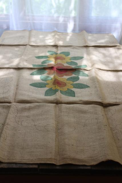 vintage Bucilla needlework canvas, hooked rug to make - painted colors burlap rug backing