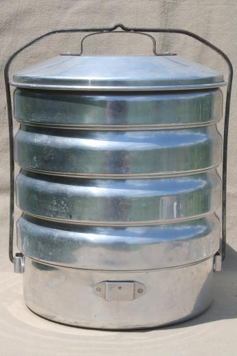 Vintage Buckeye Aluminum Picnic Pack Tiffin Stacking Camp