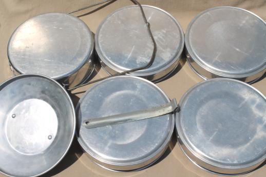 vintage buckeye aluminum picnic pack tiffin stacking camp set pans camping cookware. Black Bedroom Furniture Sets. Home Design Ideas