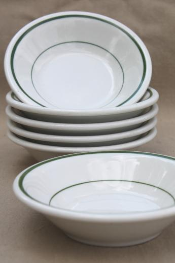 Vintage Buffalo China Bowls Green Band White Ironstone