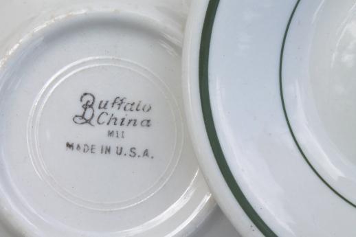 & vintage Buffalo china bowls green band white ironstone restaurant ware