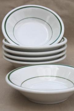 vintage Buffalo china bowls, green band white ironstone restaurant ware