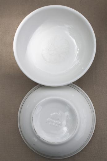 Vintage Buffalo China Bowls Green Band White Ironstone