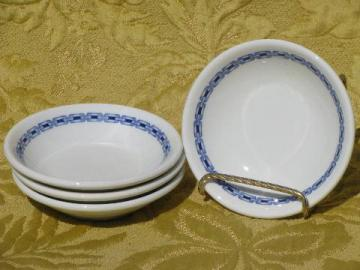 vintage Buffalo china ironstone fruit bowls, blue and white chain border