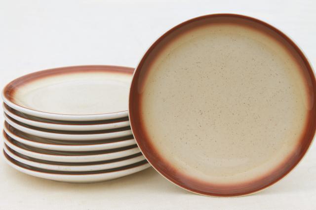 vintage Buffalo china plates tan spatter w/ brown border western c& dishes & vintage Buffalo china plates tan spatter w/ brown border western ...
