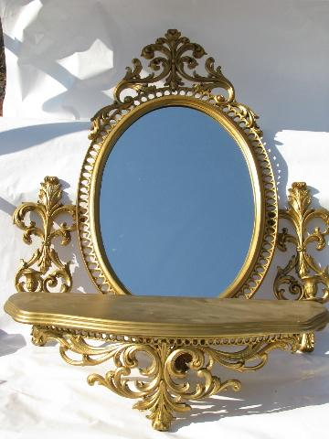 Vintage Burwood Faux Gold Rococo Plastic Wall Mirror Shelf