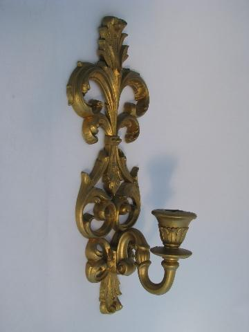 Faux Crystal Wall Sconces : vintage Burwood, faux gold rococo plastic wall sconces for candles