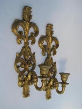 vintage Burwood, faux gold rococo plastic wall sconces for candles