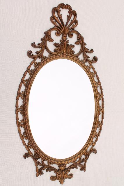 Vintage Burwood Gold Rococo Plastic Wall Mirror