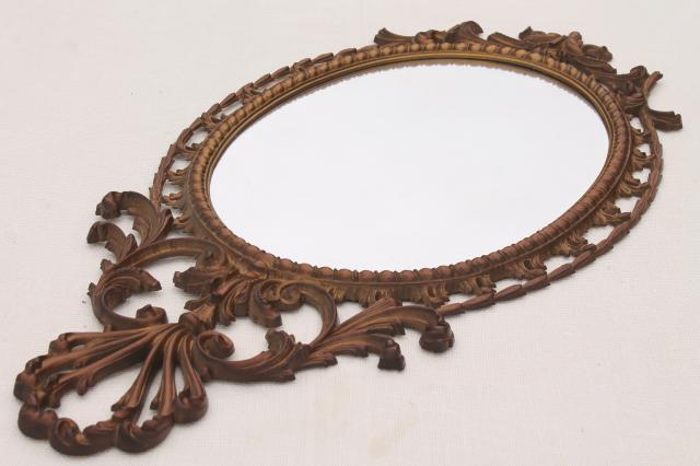 vintage Burwood gold rococo plastic wall mirror, Cinderella fairy tale french country style