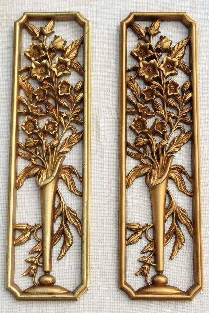 Vintage Burwood Gold Rococo Wall Art Plaques Syroco Type Wood