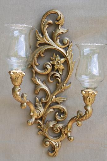 Candle Wall Sconces With Glass Shades : vintage Burwood gold wall sconces w/ Princess House glass candle lamp shades