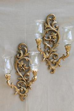 vintage Burwood gold wall sconces w/ Princess House glass candle lamp shades