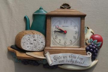 vintage Burwood plastic kitchen wall clock Give Us This Day Our Daily Bread