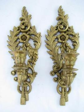 vintage Burwood plastic wall sconces for candles, antique gold french baroque rococo