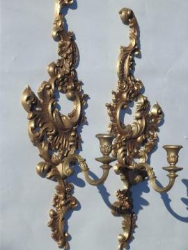 vintage Burwood wall sconces set, gold plastic rococo candle holders