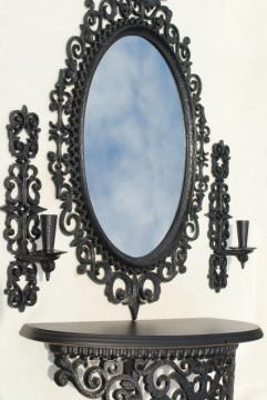 vintage Burwood wall sconces, shelf, framed mirror - french quarter wrought iron style