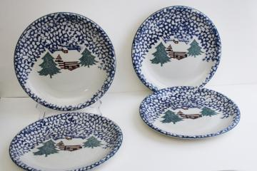 vintage Cabin in the Snow Folk Craft spongeware dinner plates, Tienshan China